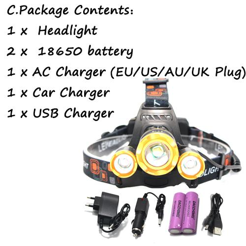 10000LM 3x XML T6 zoomable rechargeable LED headlight headlight torch flashlight lamp + 2x18650 + AC / car charging