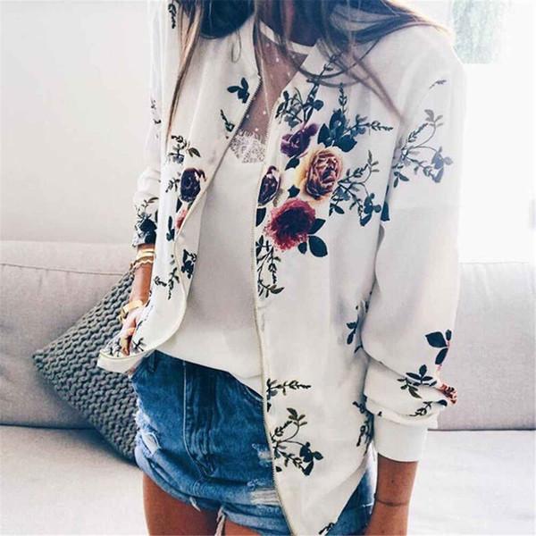 2019 new autumn colorful printing  women long sleeve zipper short jacket biker casual outwear