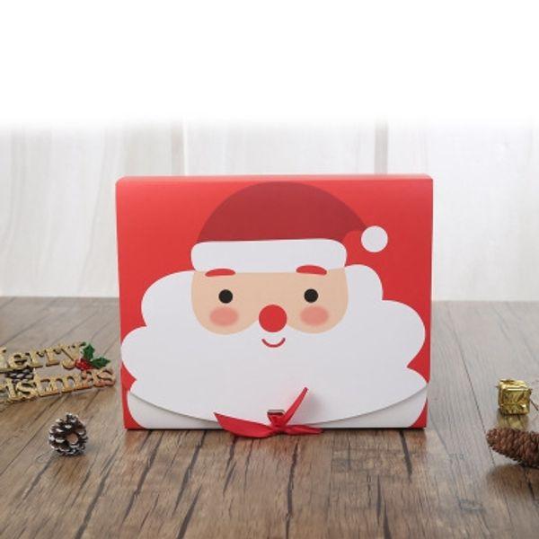 Vigilia di Natale grande contenitore di regalo di Santa Fata design Papercard Kraft Presente favore di partito Attività Box Rosso Verde EEA684