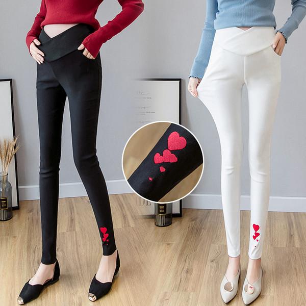 Auutumn Mujeres Embarazadas Lápiz Pantalones de Pata Baja Hem Dobladillo Bordado Floral Pantalones Elásticos Elegante Oficina Señora Lápiz Pantalones Flacos