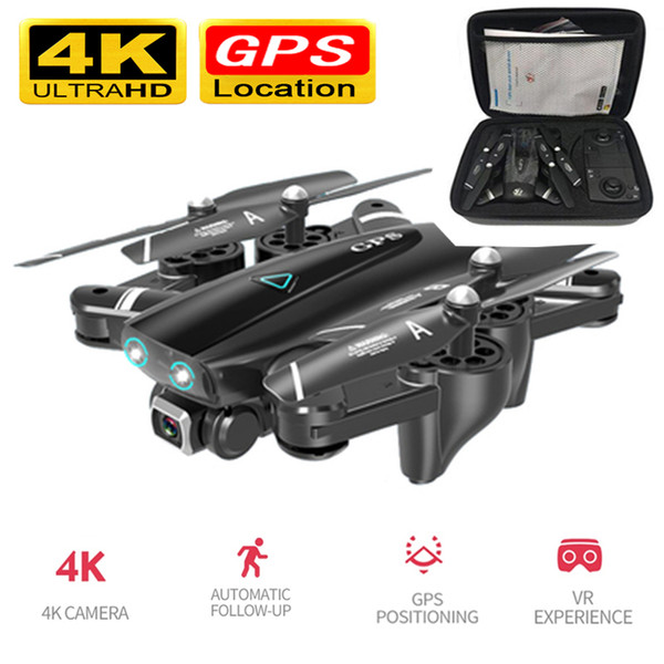 Foldable Drone with 4k Camera GPS RC helicopter Off-Point Flying Photos Video Drone with HD 4K WIFI FPV