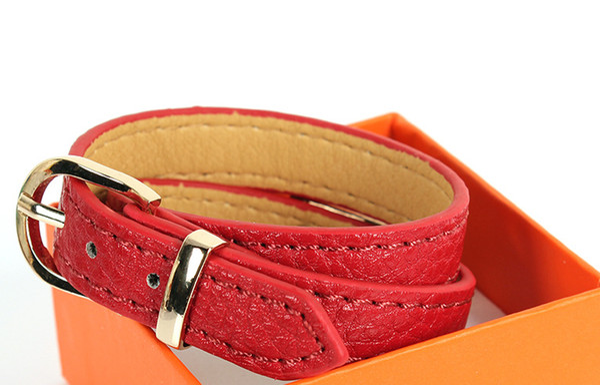 European and American hot bracelets Fashion personality kelly double ring lock belt buckle green leather bracelet bracelet