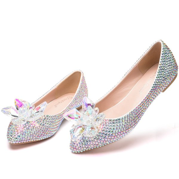 Crystal Queen fashion Rhinestone Crystle Cinderella Shoes Sexy Flat heel Women Shoes Wedding Shoes Flats big size 43 Multicolor