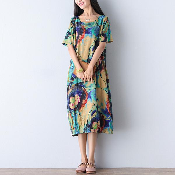 Trendy2019 Anzug-Dress-Code Wird Sommer tragen Literatur Wird Blumenbaumwollkleid Einfach Dünner Langer Rock