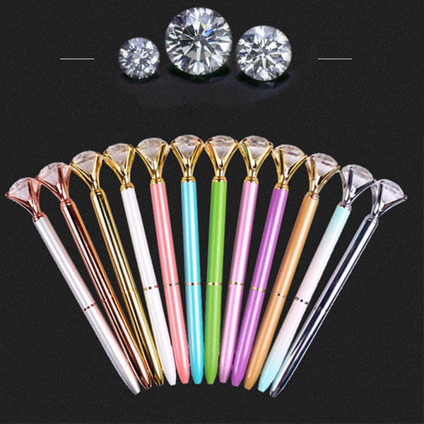 Kawaii Big Gem Ballpoint Pen Metal Ball Pen With Large Diamond Writing Pen Fashion School Office Supplies RRA668