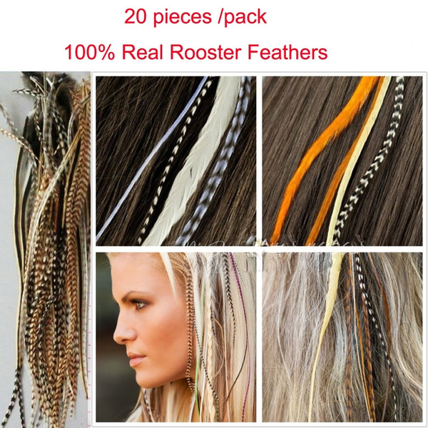 "20 pieces/bag hot selling 6-11"" grizzly rooster feather hair 100% real feather hair extensions random natural color"