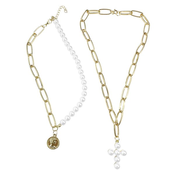 Luxury Design Imitation Pearls Choker Necklace Female Cross Pendant Necklaces for Women 2019 Fashion Gold Coin Jewelry