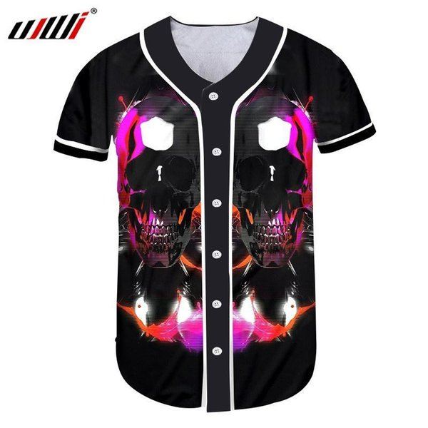 Ujwi Mens Button T Shirt Nuovo 3d stampato colorato cranio Baseball T-shirt Hiphop Fashion Jacket Trend Button