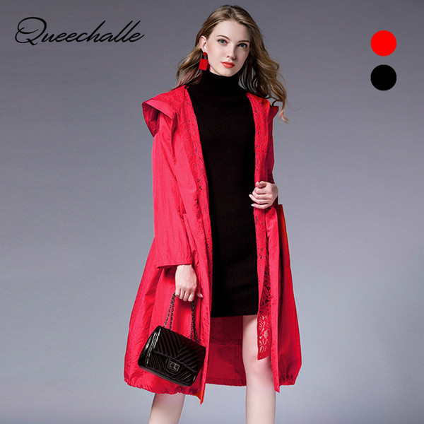 queechalle autumn long coat women's windbreaker black red plus size trench female clothes lace patchwork casual trench coat