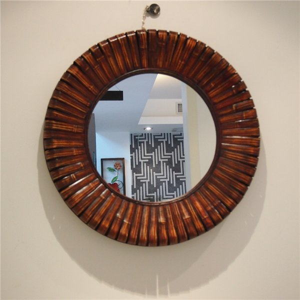 Kingart Antique Larger Bamboo And Wooden Frame Round Wall Mirror Living Room Mural Brown Deccorative Big Wall Mirror Metal Framed Mirrors Metal Mirror