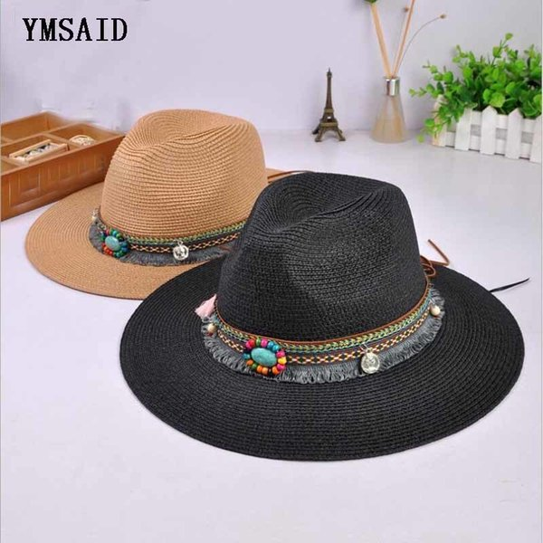 Nueva primavera verano Bohemia estilo mujeres Jazz gorras sombreros con  ancho Birm mujer paja Vintage sombrero 31efb1a5e6e