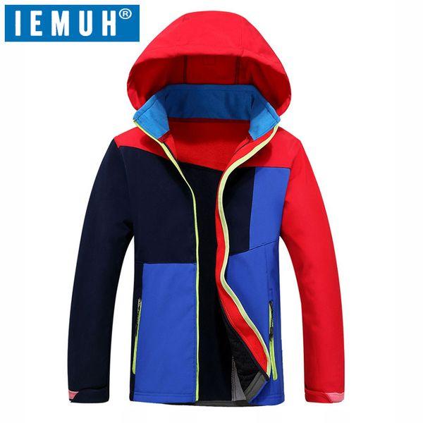 IEMUH Marke Sport Winter Kinder Mantel Hood Skijacke Jungen Mädchen windundurchlässige wasserdichte Outdoor-Solfshell Camping Wandern Jacke
