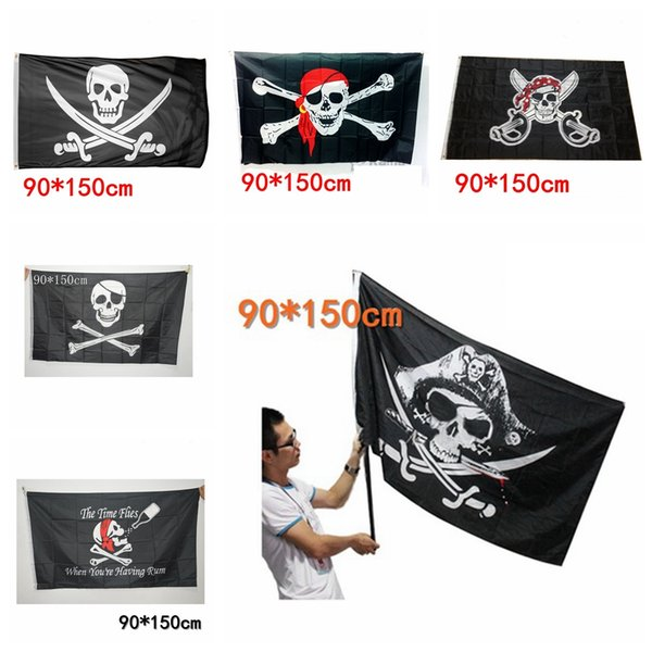 90x150 cm Grande Nero Jolly Roger Bandiere Pirate Halloween Puntelli Skull Crossbones Spade Bandiere Nere Haunted House Bar Decor AAA729