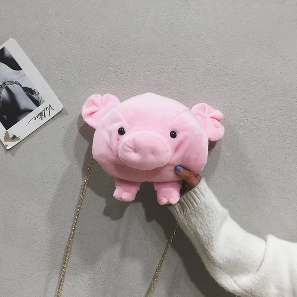 Lucky2019 Piggy Lint Lovely Pig Single Shoulder Satchel Soft Sister Student Mobile Phone Package