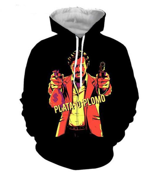 pablo الرجل مصمم هوديس بابلو اسكوبار 3D الطباعة مع جيب PO الترفيه الموضة الملابس البلوز تتسابق بلايز هودي أفضل نوعية