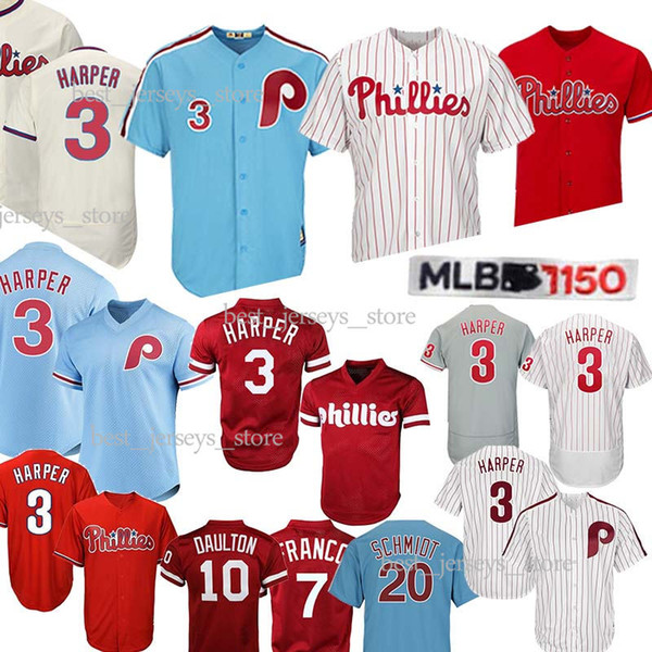 Philadelphia 3 Bryce Harper jersey 7 Maikel Franco Phillies 4 Lenny 10 Darren Daulton 99 Mitch Williams Jerseys 2019 Best selling Jersey