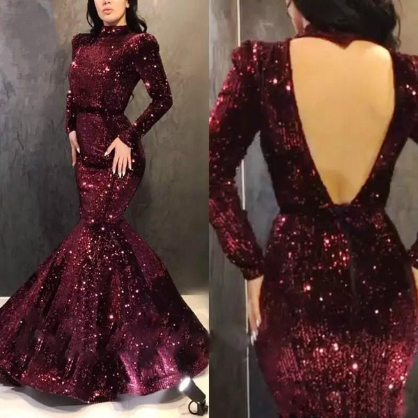 Sparkling Sequined Mermaid Evening Dress Long Sleeves Prom Party Gowns High Collar Sexy Open Back Pageant Prom Dresses Custom AL3015