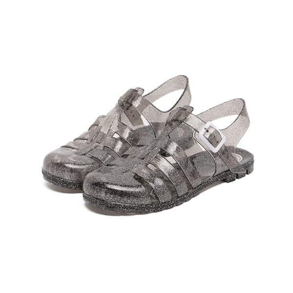 Beach Shoes Flattie Jelly RFID Blocking Buckle Fastening Round Comfortable Sandal