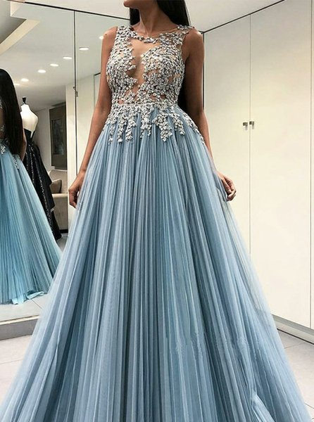 Beaded Lace Applique Prom Dresses Long 2019 Sexy Sheer Bust Key Hole Back Pleated Tulle Formal Evening Gowns Cocktail Party Ball Dress