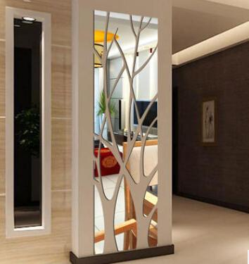 Acrylic Tree Branch Mirror Wall Sticker Removable DIY Tree Shape 3D Sticker Home Living Room Wall Decal