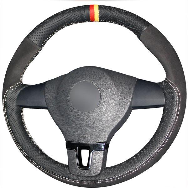 DIY Hand sewing Black Genuine Leather Black Suede Car Steering Wheel Cover for Volkswagen VW Tiguan Lavida Passat B7