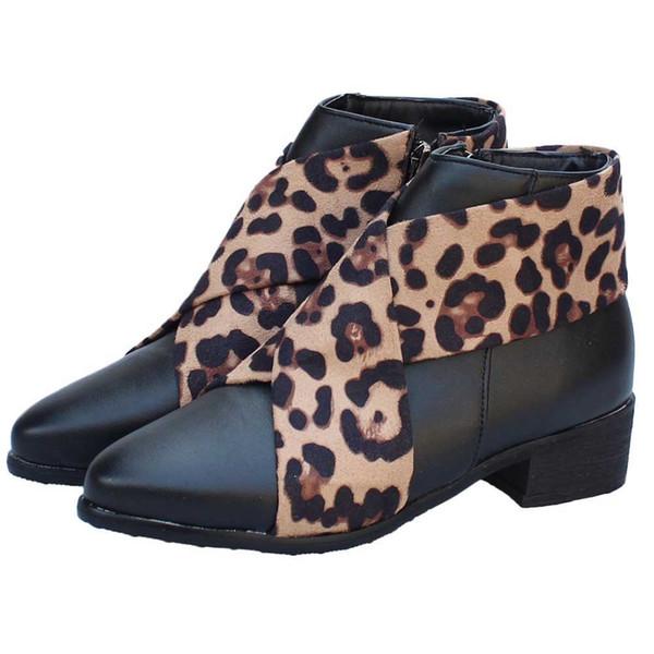 Die Art- und Weiseleopard-Stiefeletten der YOUYEDIAN Frauen wies Zehe-niedrige Ferse-Schuhe Martin-Stiefel an Neue Ankunft nähen wasserdichte flache # Y35