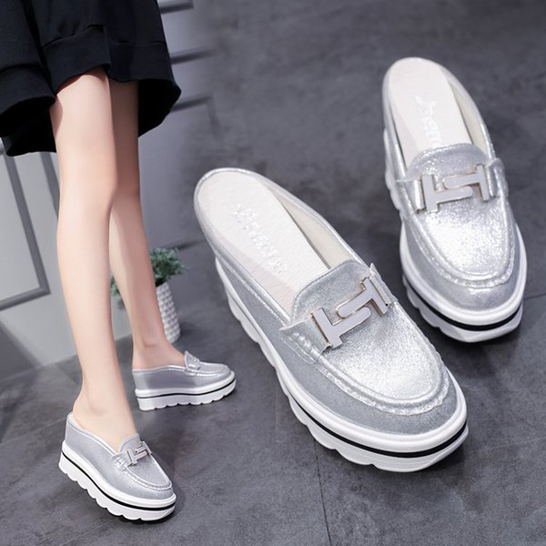 2018 Summer Women Slippers Wedges Platform Shoes Bottom Muffin Round toe High-Heeled Half Dragged Female Slippers 3120