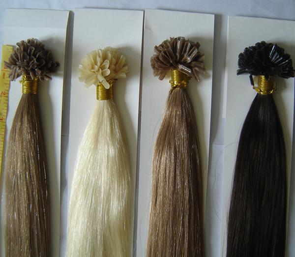Предварительно склеенный кератиновый наконечник U-кончик ногтя наращивание волос Реми человеческие волосы 12-24 дюймов шелковистые прямые сращивания волос