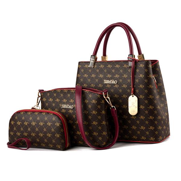 c271cad167f0 3PCS Women s Handbag Bags Set Leather Lady Plaid Tote Cross Body Bag Clutch  Purse Wallet High