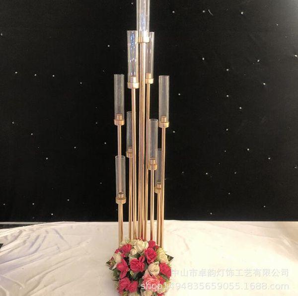 Parti Dekorasyon demir ve cam otel masa merkezi adet ekran düğün işareti alan yol kurşun 8 Heads Altın Metal Standı Ayağı Şamdan