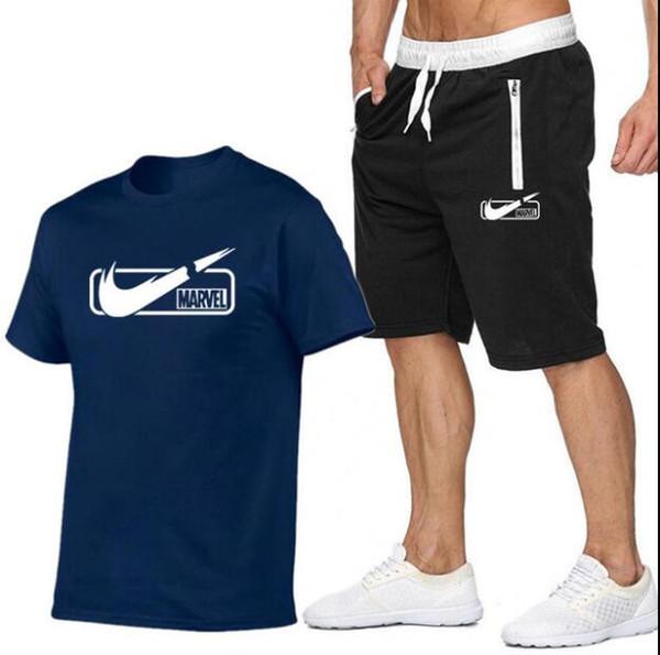 2019 Gelgit marka Setleri Yaz Erkekler T Shirt + pantolon Setleri Yaz Sıcak Satış Pamuk Rahat Kısa Kollu Tişört erkekler Rahat Set Pant