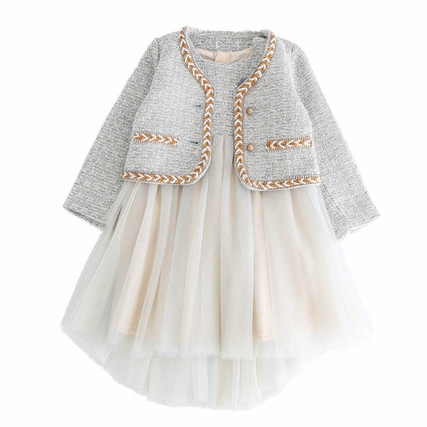 Бутик дети наряды принцессы девочек костюмы детей дизайнер одежды для девочек пальто куртка + Туту Платья 2pcs новых 2019 осень зима дети наборы A8098