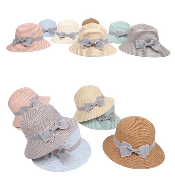 Crianças bowknot sunhat crianças chapéu de palha verão bebê bonés de praia cap pescador ao ar livre cap fit 5-8 T B11
