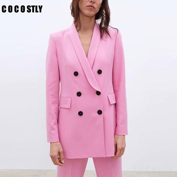 Women Pink Suit Jacket Formal Blazer 2019 Double Breasted Pocket Women Blazer Work Office Business Suit Outwear