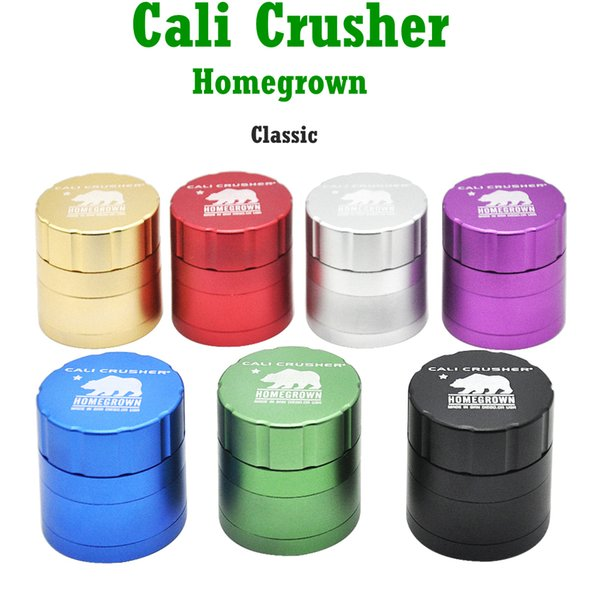 1 X Cali Crusher Homegrown 53mm CNC de aluminio hierba del tabaco de molinillo de especias de la trituradora 4 Pieza con Catcher Polen