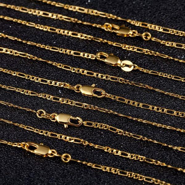 2 мм золото Фигаро цепи ожерелья Для мужчин Женщины 3:1 плоский дизайн Фигаро ювели