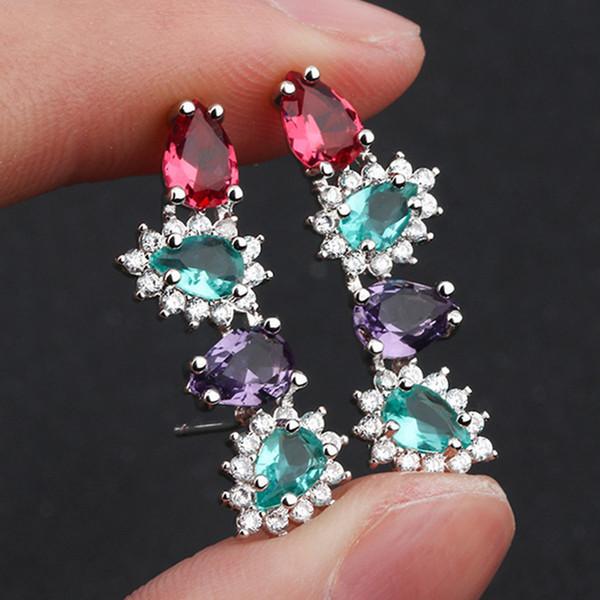 luxury colorful zircon diamond long stud earrings women irregular crystal white gold &black party fashion jewelry monaco design