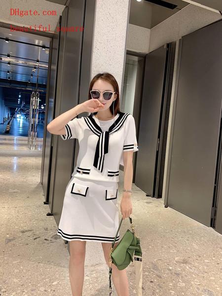 2019 summer dresses women Tracksuit women two piece outfits Lapel navy style bow tie short sleeve + skirt woman 2pcs suit women clothes BC-4