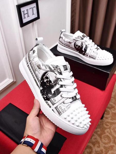 Марка Fashion Luxury Дизайнерская обувь Золото с низким вырезом из кожи Плоские дизайнеры мужские женские повседневные кроссовки 38-44 Ht PP 19