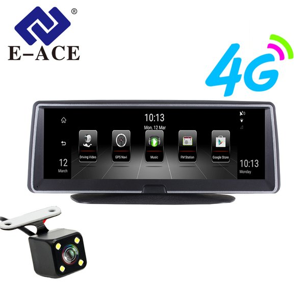 e-ace car dvr 8 inch auto camera 4g android fhd 1080p video recorder gps navigation adas remote monitor dash cam dual lens dvrs