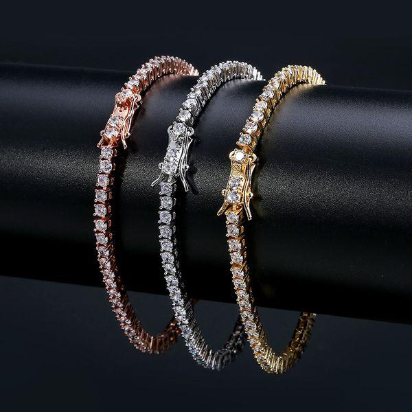 best selling European and American tennis chains Hip-hop Tide Men's Bracelet Zircon-microencased 3mm Bracelet Tennis bracelet