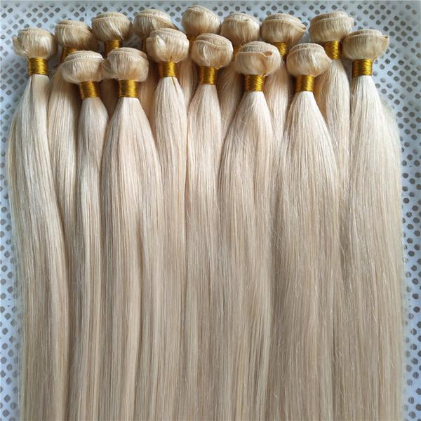 Capelli biondi platino peruviano capelli lisci tessuto non-remy fasci tessuto 100% capelli umani 10-30 pollici vigin estensioni dei capelli