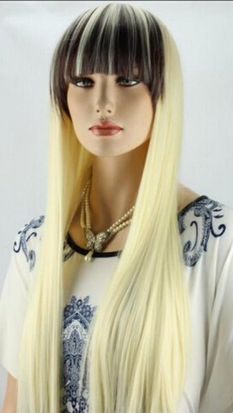 PERUK ücretsiz kargo Yeni stil Moda Uzun Düz kadın Tam Peruk Cosplay / Parti