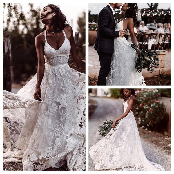 Discount Newest Spaghetti Straps White Rose Lace Wedding Dress A Line Sweep Train Beautiful Wedding Gowns Backless Vintage Bridal Gowns Princess