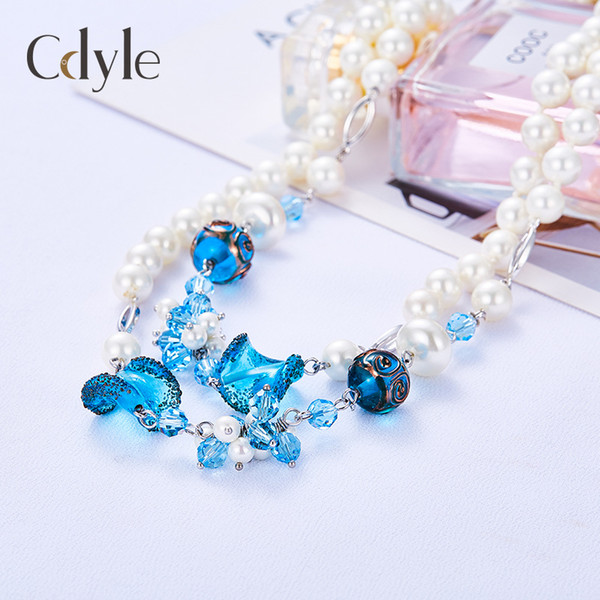 Autumn and winter Joker light luxury Pearl Jellyfish colored glaze sweater chain ladies multilayer Pearl Necklace