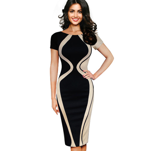 Casual Summer Women Colorblock Contrast Short Sleeve Office Business Pencil Dress Patchwork O-neck Dresses B315 Y190411