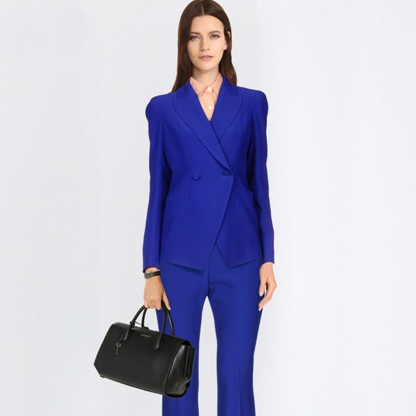 2019 Formal Elegant Women's Blazers Trouser Suits Ladies blue Blazer Women Business Suits with Pant and Jackets Sets Work Wear