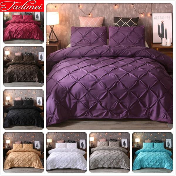 Copripiumino in cotone morbido di alta qualità di lusso 3 pezzi Set biancheria da letto per adulti Biancheria matrimoniale matrimoniale King Size Viola Pure Color 220x240 cm