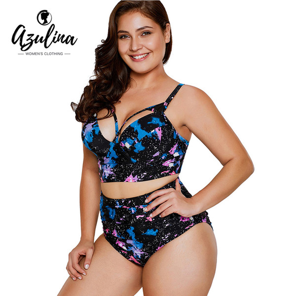 9c9cd6bb2f AZULINA Plus Size Cut Out Galaxy Print Bikini 2019 Underwire Swimwear Women  High Waist Bikini Push