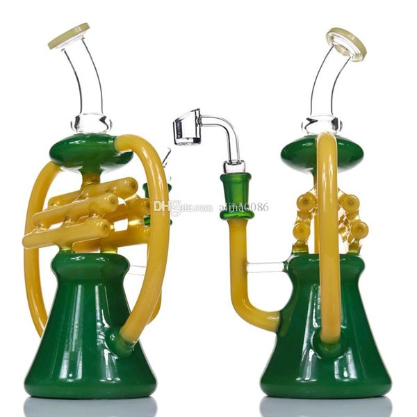 """Recycler NOTE Glass Bong Dab Rig New Water Pipe Tall 10.5"""" Percolator Heady Glass Beaker Bongs Color Recycler Oil Rig Bubbler Bongs"""